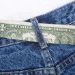 Blue jean and dollars — Stock Photo