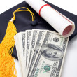 Black Mortarboard and dollar — Stock Photo #34770739
