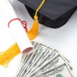 Stock Photo: Black Mortarboard and dollar