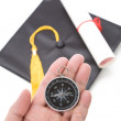 Black Mortarboard and Compass — Stock Photo #35000511
