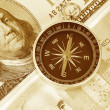 Compass and dollar — Stock Photo