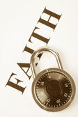 Headline faith and lock, concept of religion belief, faithfulness — Stock Photo