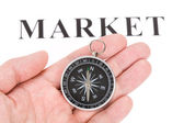 Headline market and Compass — Stock Photo