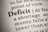 Fake Dictionary, Dictionary definition of the word deficit. — Stock Photo