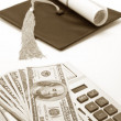 Black Mortarboard and dollar — Stock Photo #40930689
