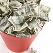 Dollars in Red Garbage Can — Stock Photo