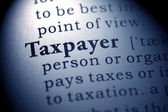 Fake Dictionary, Dictionary definition of the word taxpayer. — Stock Photo