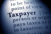 Nep woordenboek, woordenboekdefinitie van het woord belastingbetaler. — Stockfoto