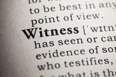 Fake Dictionary, Dictionary definition of the word witness. — Stock Photo