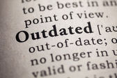 Fake Dictionary, definition of the word outdated. — Stock Photo