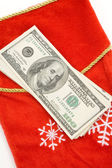 Christmas Stocking and dollars — Стоковое фото
