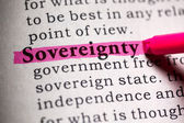 Fake Dictionary, Dictionary definition of the word sovereignty . — Stock Photo