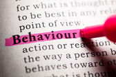 Fake Dictionary, Dictionary definition of the word behaviour. — Stock Photo
