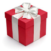 Red gift box with white ribbon and bow. — Stock fotografie
