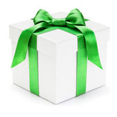 Gift box with green ribbon and bow. — Stock Photo