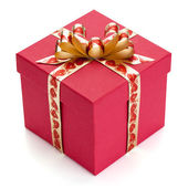 Red gift box with golden ribbon and bow. — Stock Photo