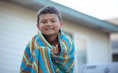 Tween Boy in a towel — Stock Photo