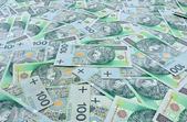 Polish banknotes 100 zloty background — Stock Photo