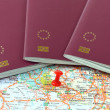 Stock Photo: Schengen on map marked with red pin