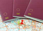 Schengen on the map marked with a red a pin — Stock Photo