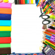School and office supplies frame - Stock Photo