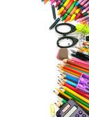 Okul ve ofis malzemeleri çerçeve — Stok fotoğraf
