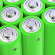 Concept background of green batteries - Stock Photo