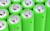 Concept background of green batteries — Stock Photo