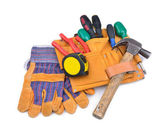 Tool belt and protective gloves — Stock Photo