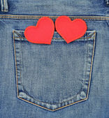 Back pocket of jeans with hearts — Stok fotoğraf