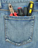 后面工具与牛仔裤的口袋的里 — 图库照片