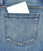 Back pocket of jeans with empty card — Stock Photo