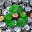 Stock Photo: Crashed beer cans