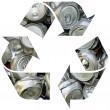 Recycle symbol with cans — Stock Photo
