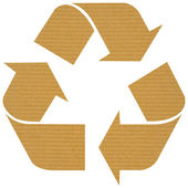 Recycle logo with reused paper — Stock Photo