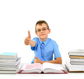 Young businessman boy with books — Stock Photo