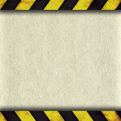 Warning stripes frame with old paper — Stock Photo