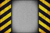 Warning stripes with rusty plate — Stock Photo