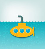 Illustration with a yellow submarine — Stock Vector
