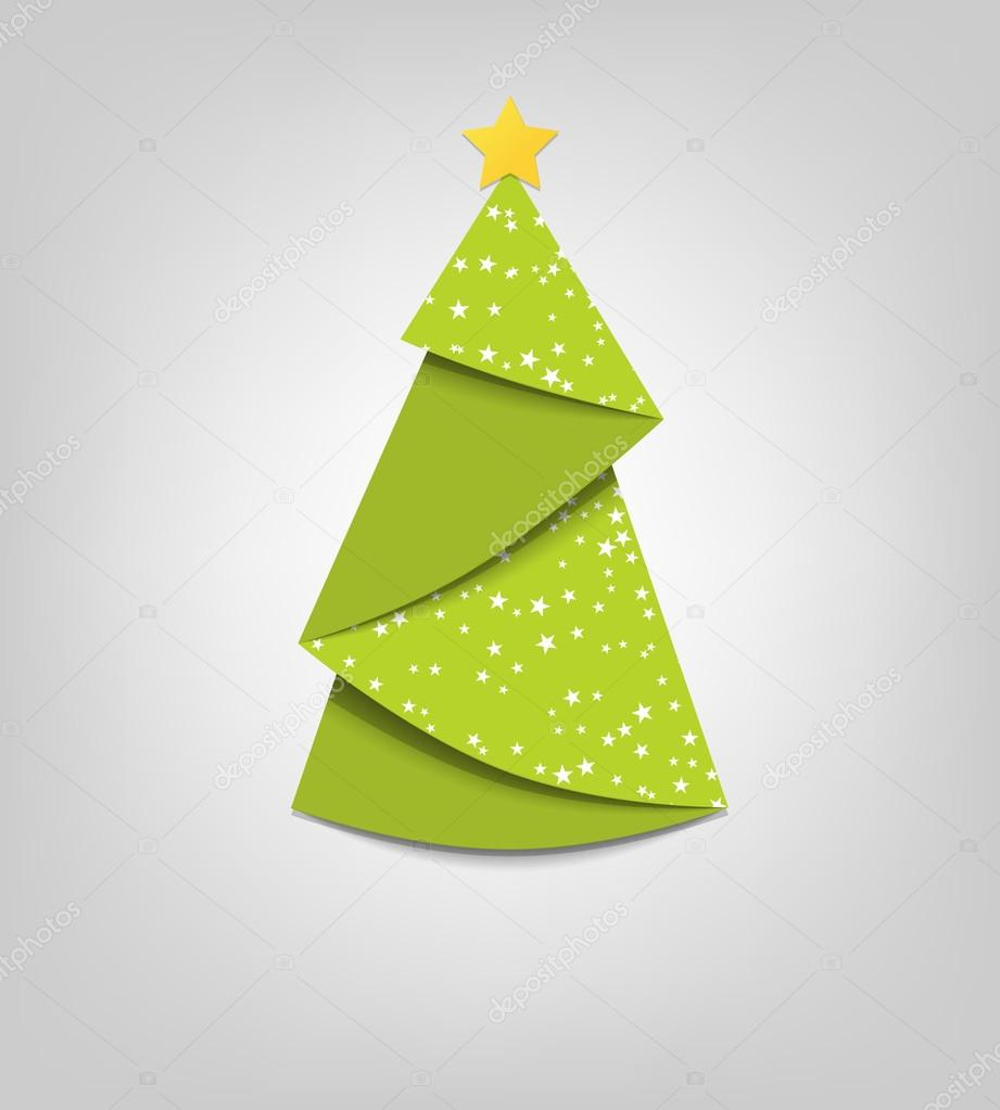 weihnachtsbaum karte vektor origami stockvektor. Black Bedroom Furniture Sets. Home Design Ideas