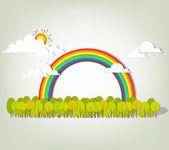 Rainbow over forest — Stock Vector