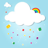 Funny cloud. rain of gifts — Stock Vector