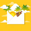 Sun and palm trees in the mail — Stock Vector
