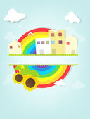 Urban landscape with rainbow. — Stock Vector