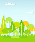 Seamless pattern cartoon flat forest — Stock Vector