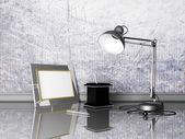 Lamba, fotoğraf çerçevesi, kalemler — Stok fotoğraf