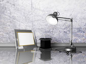 Lamp, photoframe, pens — Stock Photo