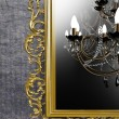 Stock Photo: Vintage chandelier on background