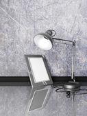 Lamp, photoframe, op een tafel — Stockfoto