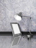 Lámpara, photoframe, sobre una mesa — Foto de Stock